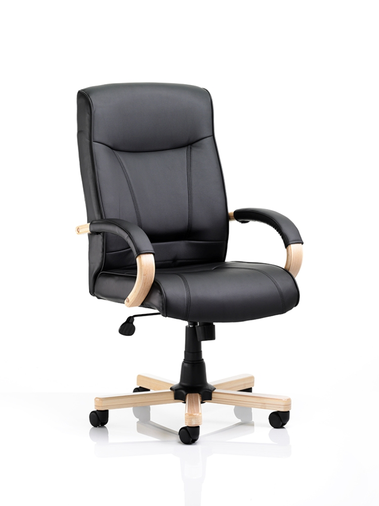 FINSBURY Bonded Leather Executive Office Swivel Computer Chair With Oak Base