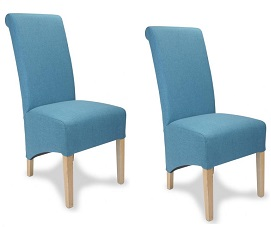 KRISTA RIO TEAL BLUE SET OF 2 ROLL BACK LINEN LOOK FABRIC DINING CHAIRS EBay