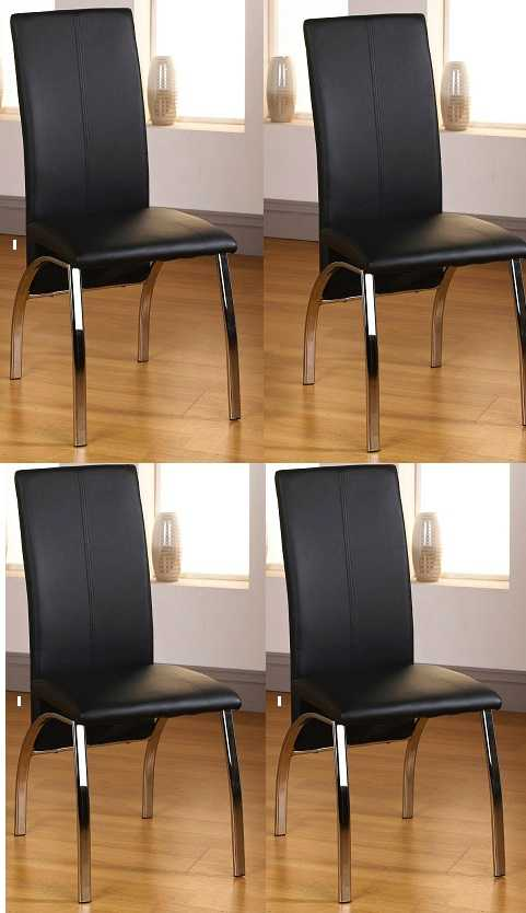 aston faux leather living home furniture x 4 modern black dining room chairs ebay. Black Bedroom Furniture Sets. Home Design Ideas