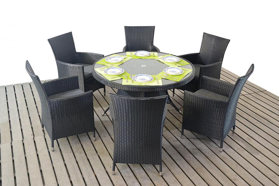prestige round dining 6 chairs table set patio outdoor rattan garden