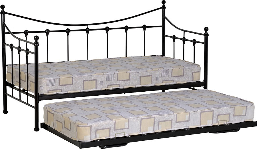 torino black single metal frame day bed guest bedroom furniture trundle underbed ebay. Black Bedroom Furniture Sets. Home Design Ideas