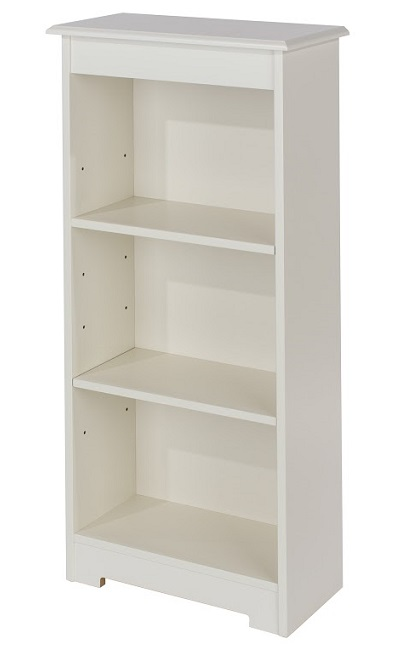 Banff White Home Bedroom Furniture Low Narrow Bookcase
