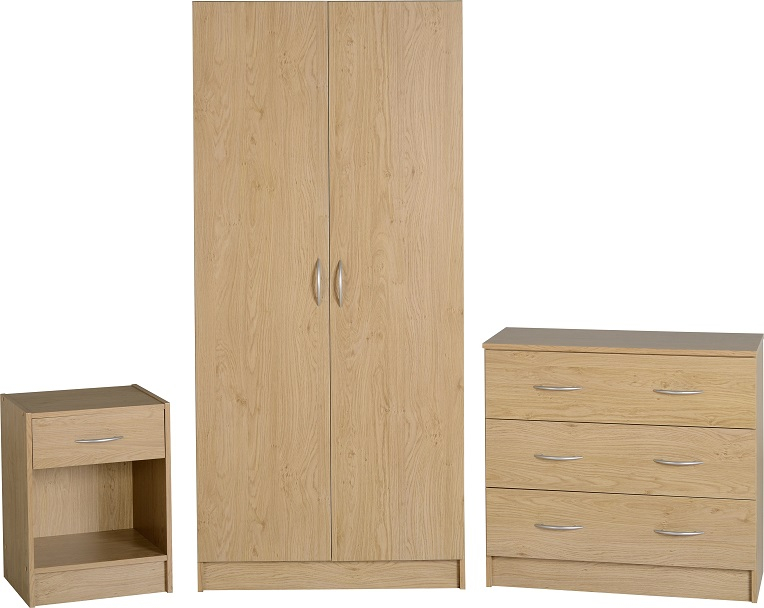 Bellingham Bedroom Furniture Set Bedside Chest Wardrobe Drawers Oak Effect