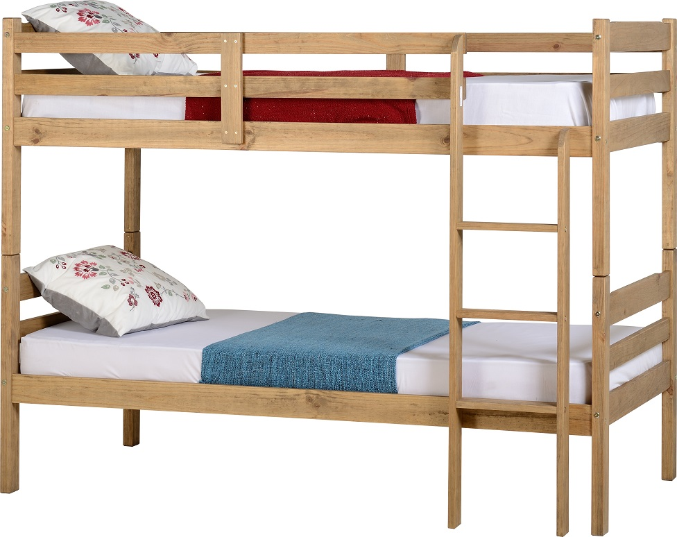 Panama 3 39 single bunk bed white or natural wax pine wooden for Single bunk bed frame