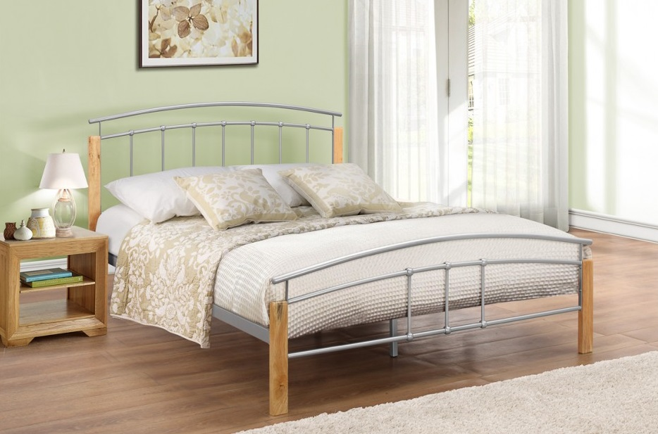 tetras 4ft small double bed frame beech and silver bedroom ebay