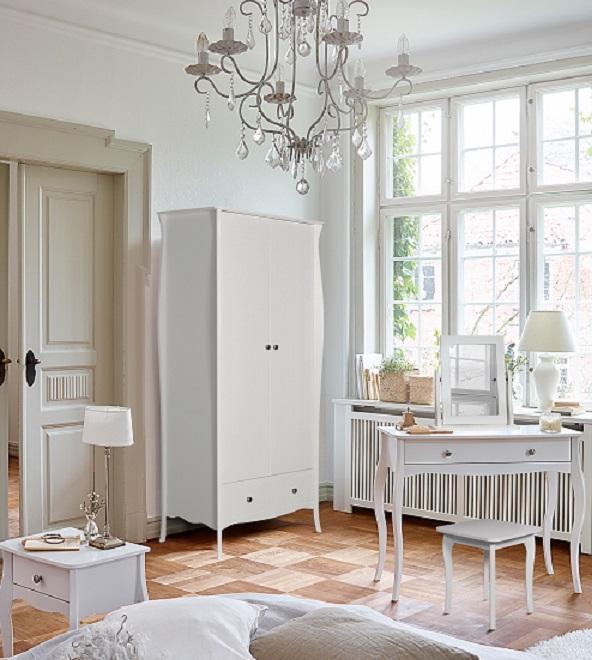 Baroque White Home Bedroom Furniture 2 Door 1 Drawer
