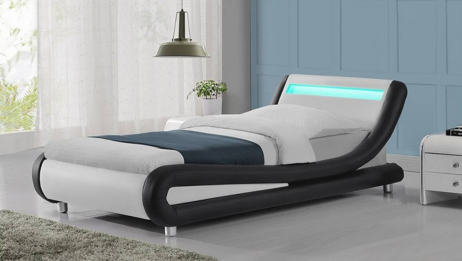 Modern madrid black white faux leather led 3ft single bed frame bedroom ebay - Beautiful snooze bedroom suites packing comfort in style ...