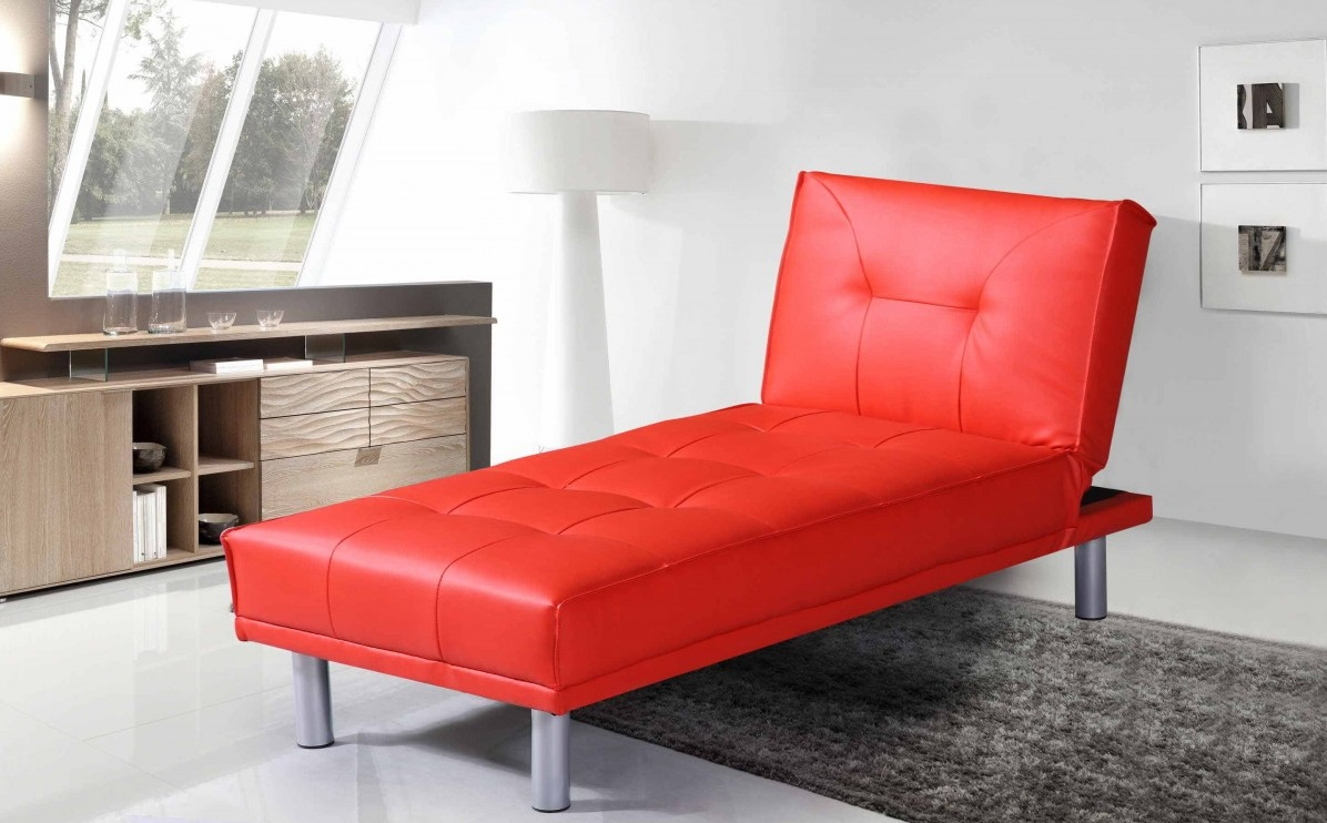 manhattan contemporary modern red faux leather chaise. Black Bedroom Furniture Sets. Home Design Ideas