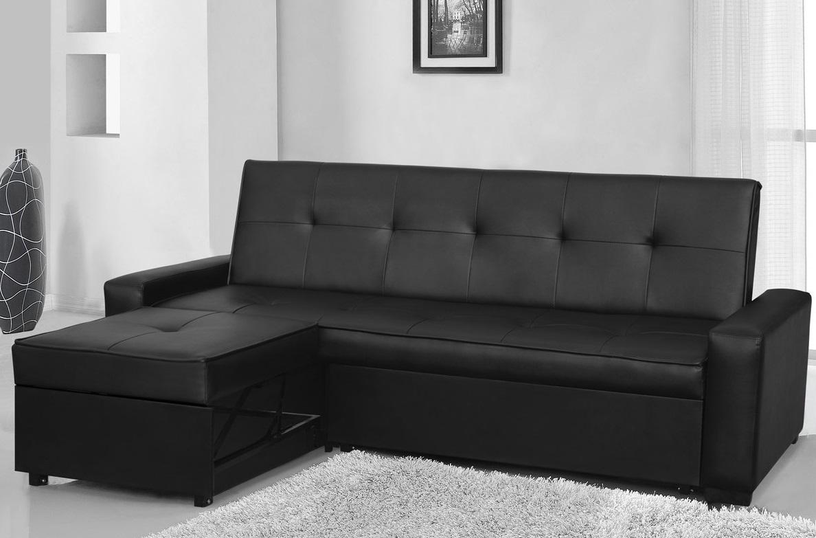 seattle modern designer black faux leather l shape sofa