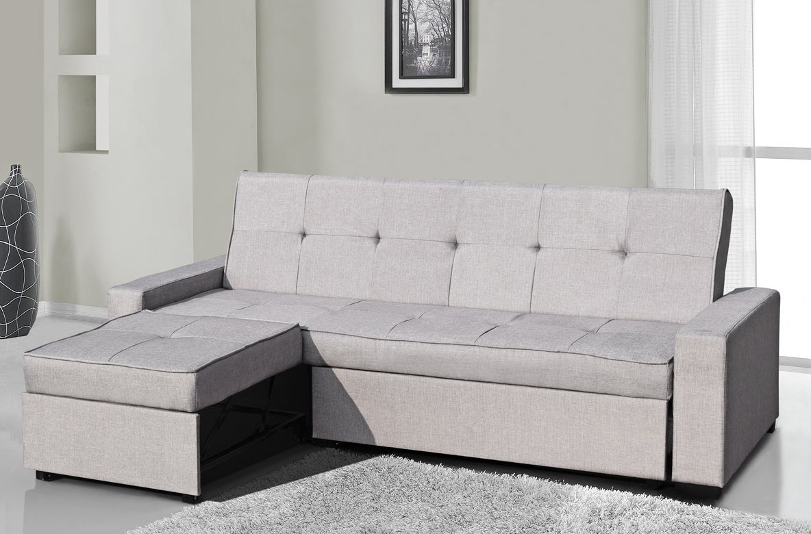 Seattle contemporary modern grey fabric 3 seater l shape for Seattle sofa bed