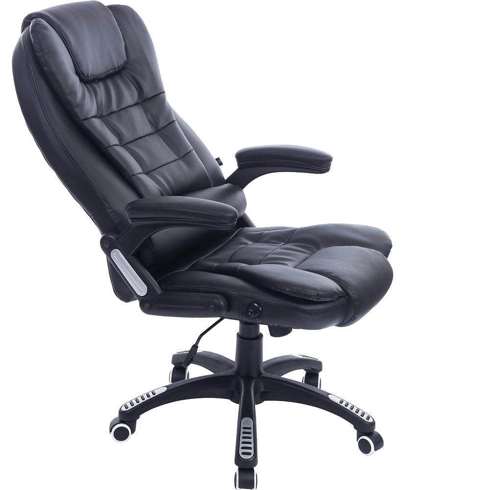 executive black leather reclining massage office computer swivel chair ebay. Black Bedroom Furniture Sets. Home Design Ideas