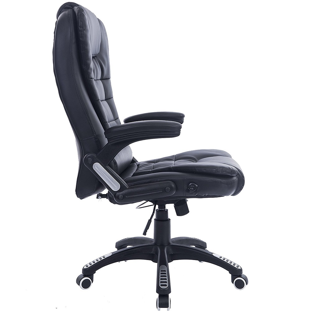 Leather Reclining Massage Office Computer Swivel Desk Chair 6 Point