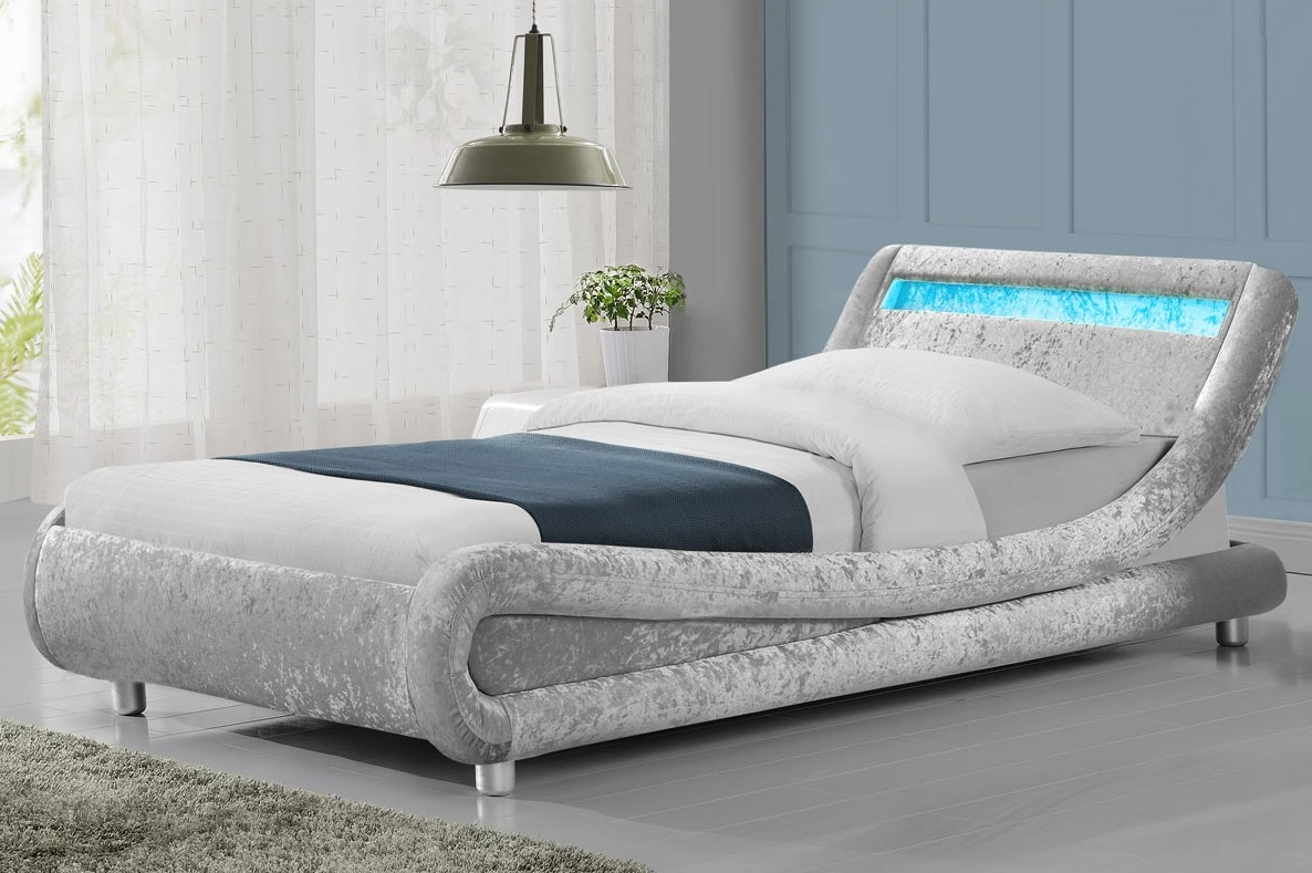 modern madrid led crushed silver velvet 3ft single bed. Black Bedroom Furniture Sets. Home Design Ideas