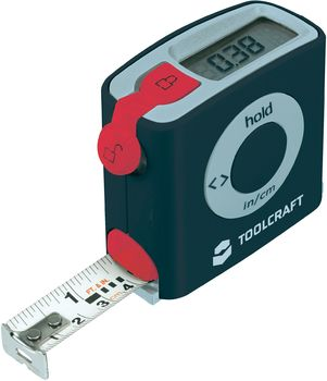 toolcraft digital measuring measure tape ruler 5m lcd battery new ebay. Black Bedroom Furniture Sets. Home Design Ideas