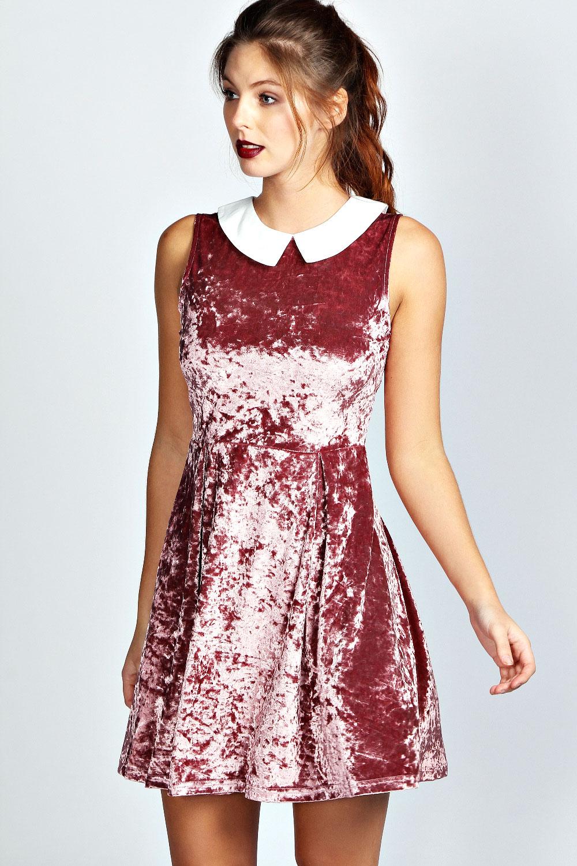 Boohoo womens ladies jenny contrast collar velvet skater dress ebay