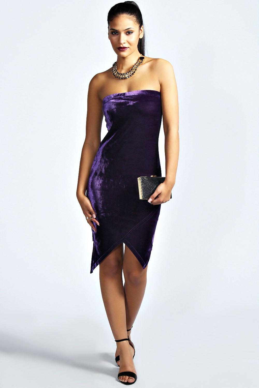 Boohoo Womens Ladies Kylie Velvet Asymmetric Bandeau Dress
