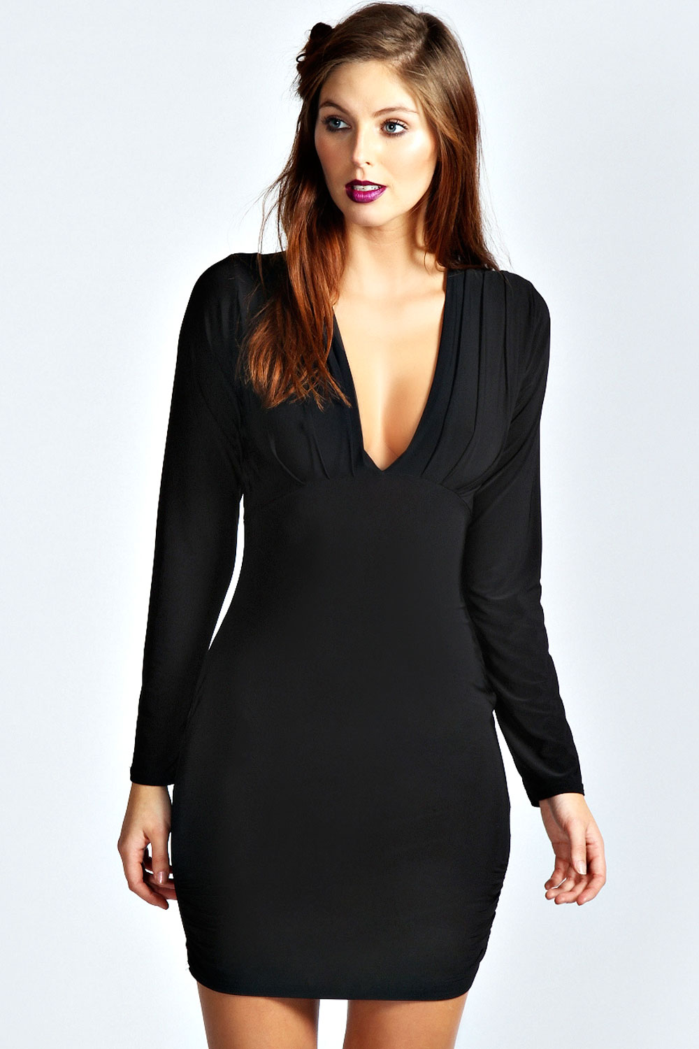 Boohoo Tabatha Slinky Plunge Neck Bodycon Dress Ebay
