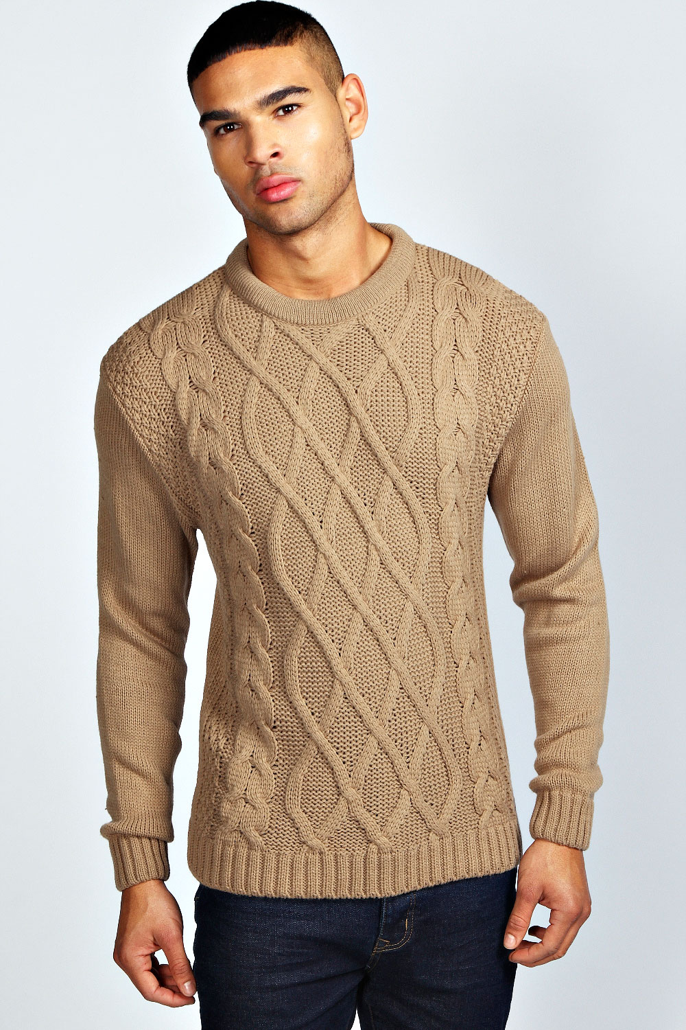 Knitting Mens Jumpers : Boohoo mens long sleeve crew neck cable knit jumper ebay