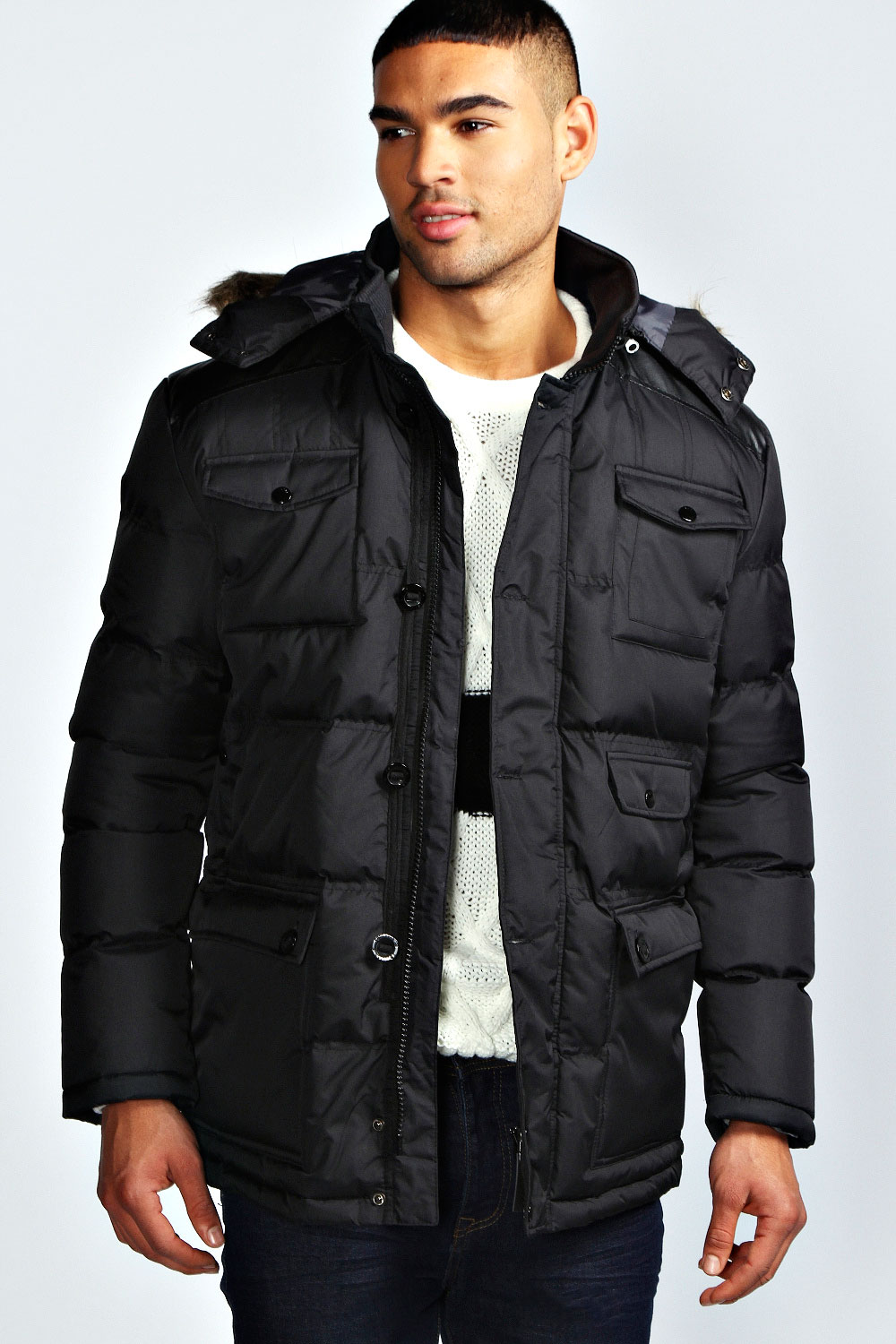 Boohoo Mens Padded Parka Jacket With Cord Shoulder Patch | eBay