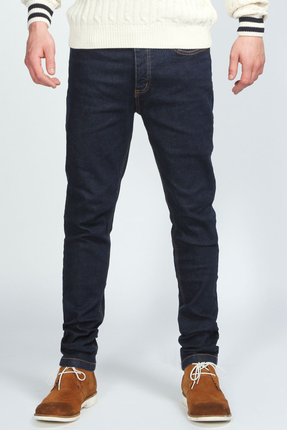 Boohoo-Mens-Black-Blue-Wash-Skinny-Jean-in-Denim-Blue