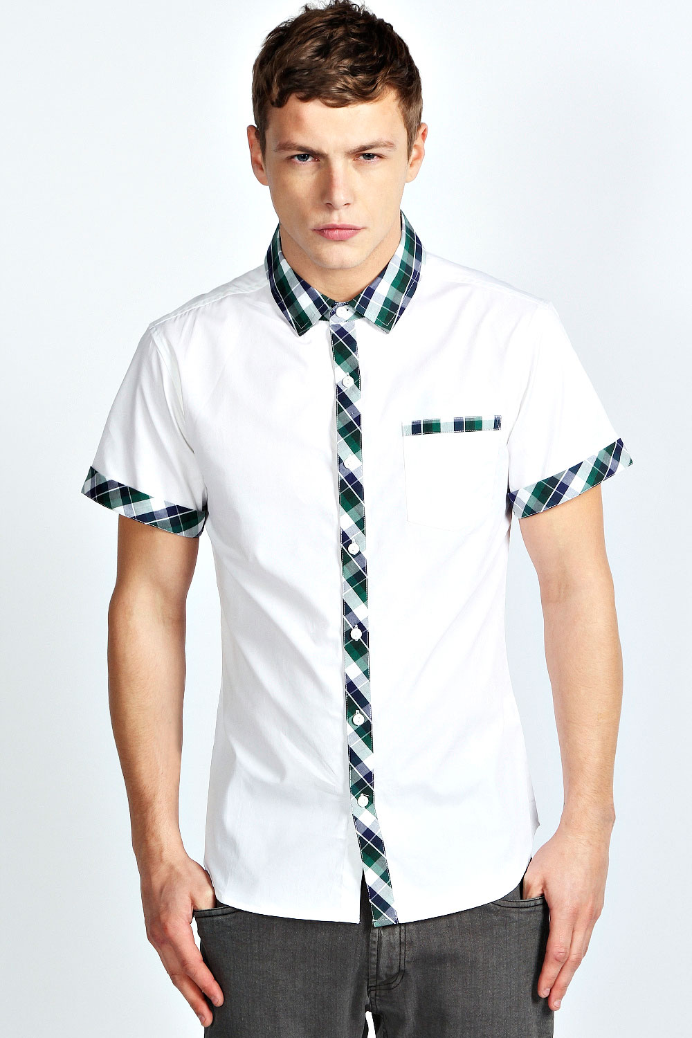 Boohoo-Mens-Cotton-Short-Sleeve-Check-Shirt