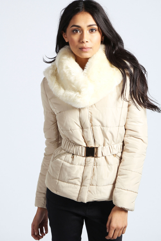 Boohoo Womens Ladies Evie Faux Fur Collar Belted Padded Jacket