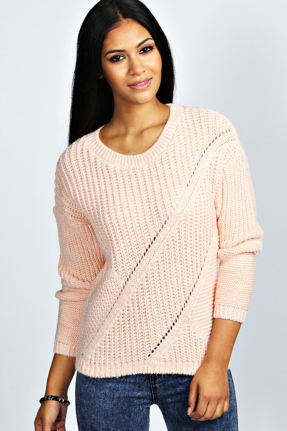Knitting Pattern Ladies Cable Jumper : Boohoo Womens Ladies Lily Long Sleeve Chunky Cable Knit Jumper