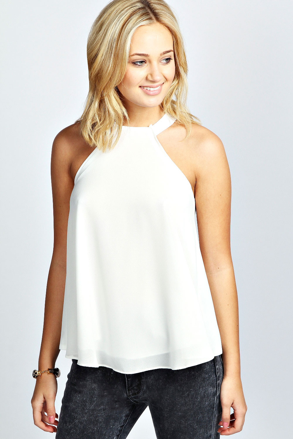 Boohoo-Womens-Ladies-Aliza-Woven-Open-Back-Halter-Neck-Top