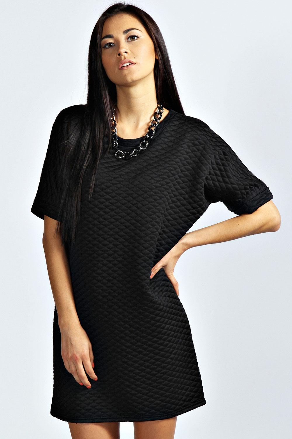 Black quilted t shirt - Boohoo Womens Ladies Karen Short Sleeve Hip Length