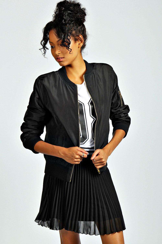 Boohoo Womens Madison Long Sleeve Waist Length Ma1 Bomber Jacket