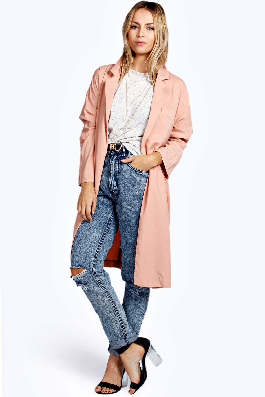 boohoo womens molly long sleeve knee length duster coat jacket ebay. Black Bedroom Furniture Sets. Home Design Ideas