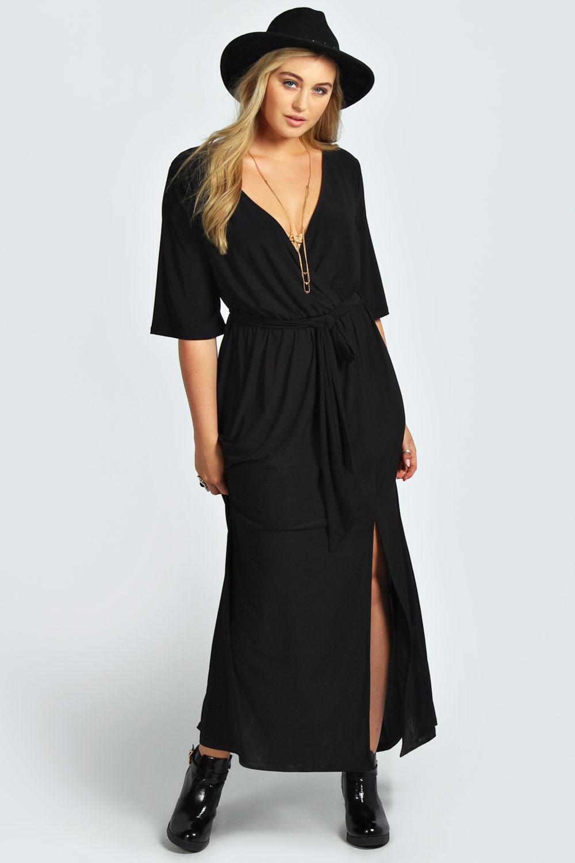 Boohoo Womens Plus Size Sheena Wrap Front Slinky Maxi Dress | eBay