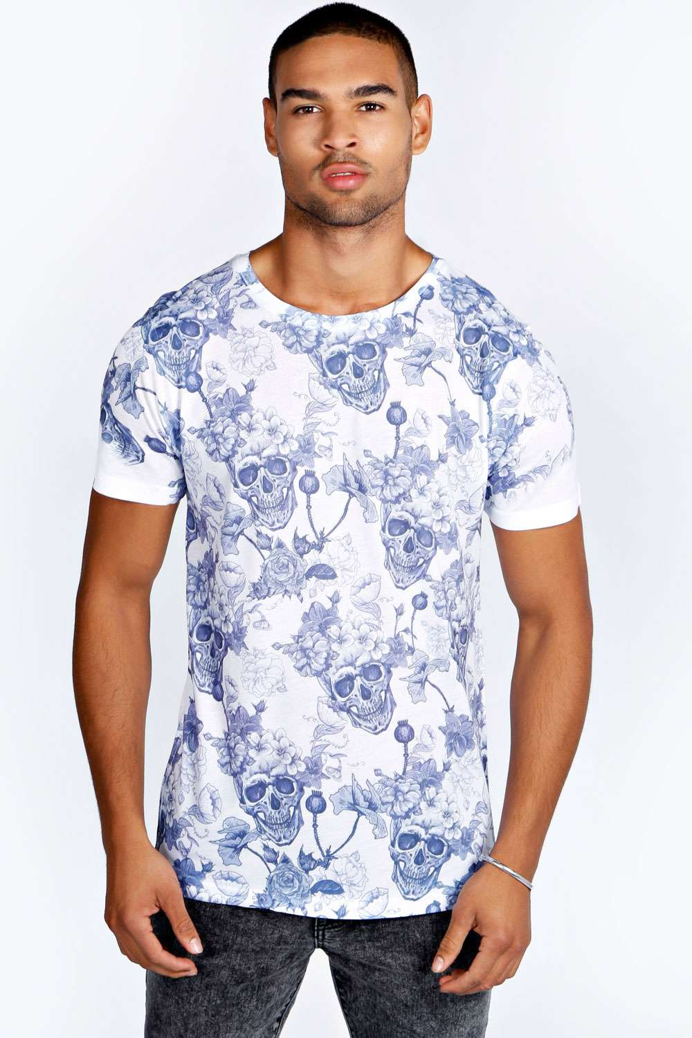 boohoo mens gothic skull and floral printed tee top t
