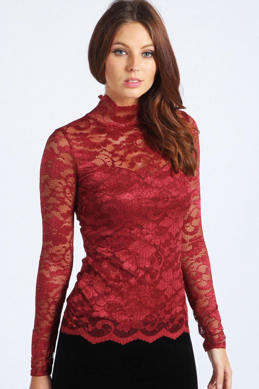 Boohoo Womens Ladies Bethany Long Sleeve Lace Polo Neck ...