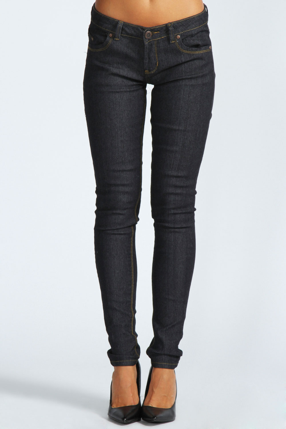 Boohoo-Womens-Ladies-Clara-Cotton-Blend-Wow-Super-Skinny-Jeans-In-Black