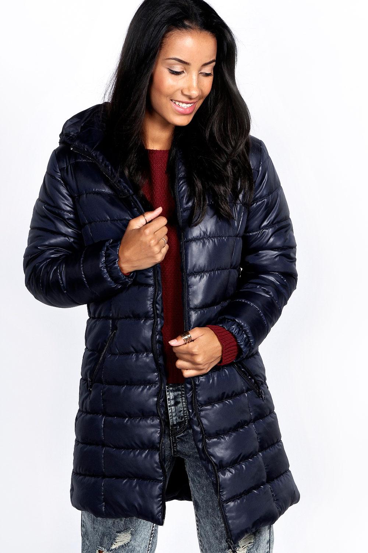 Boohoo Womens Karlie Wet Look Longline Puffer Coat Quilted Jacket
