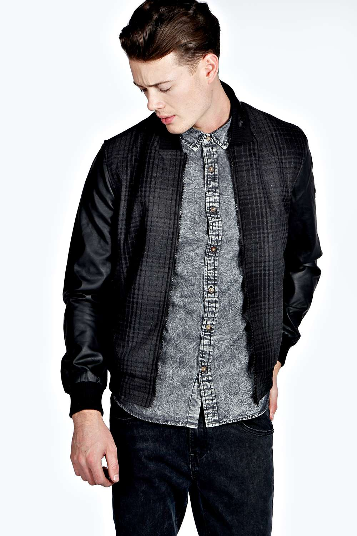Leather jacket boohoo - Boohoo Mens Waist Length Long Sleeve Tailored Check Bomber Jacket In Charcoal Ebay