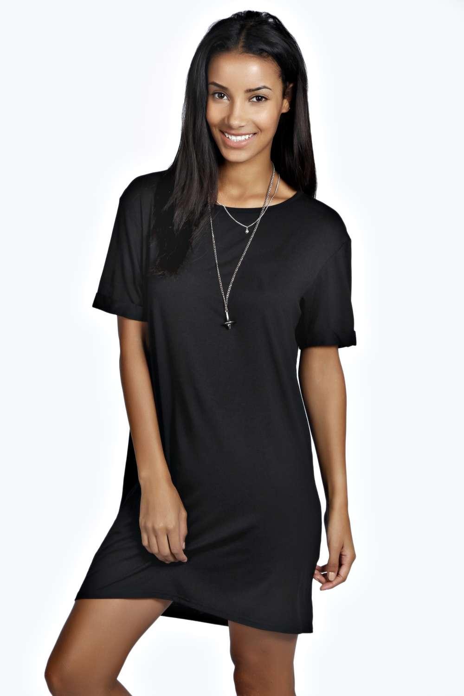 Black t shirt dress ebay - Boohoo Womens Rochelle Crew Neck Hip Length Turn