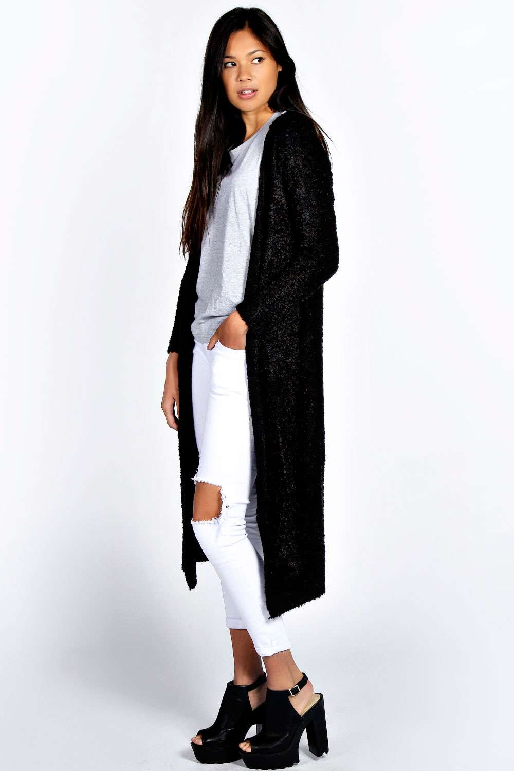 Ladies Black Long Sleeve Cardigan - Cardigan With Buttons