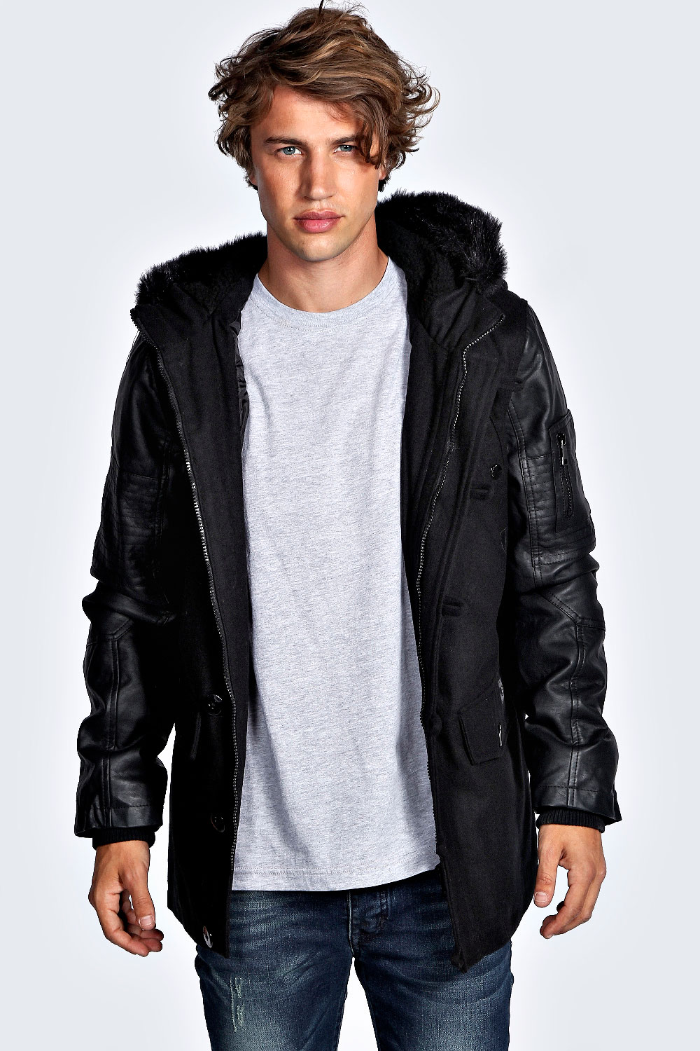 Boohoo Mens Wool Body Parka Jacket With PU Sleeves Chunky Fur in ...