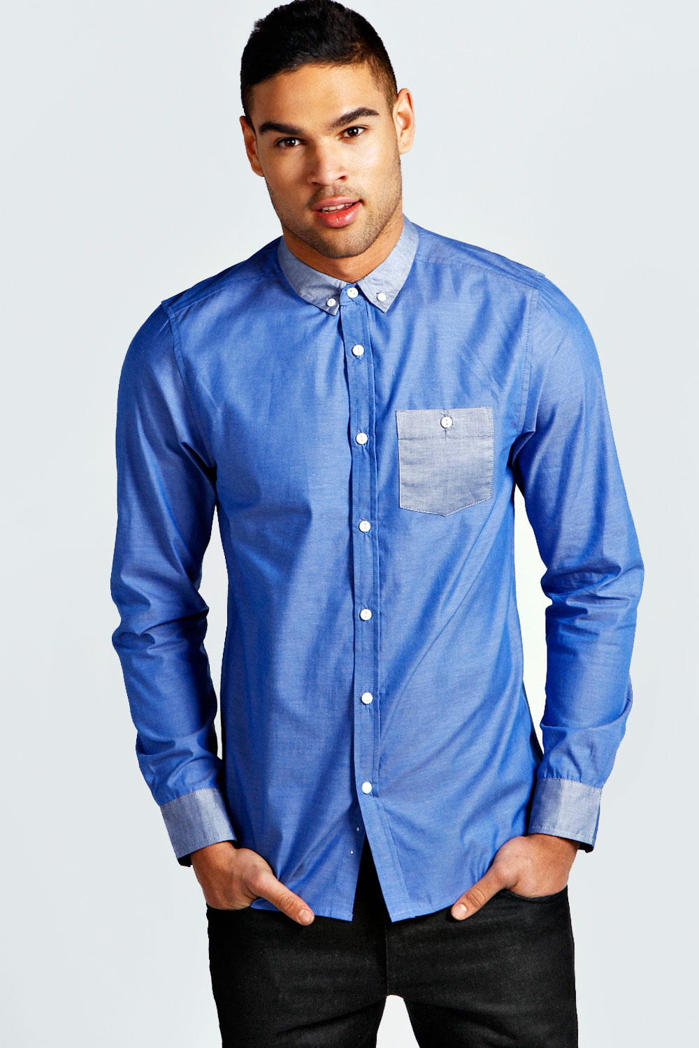 Boohoo-Mens-Long-Sleeve-Oxford-Cotton-Shirt-With-Contrast-Trims