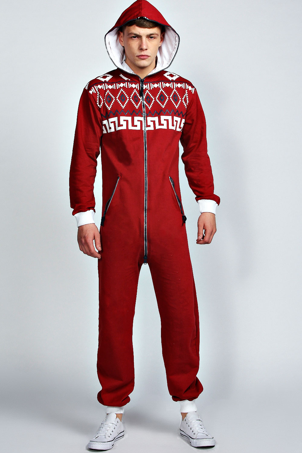 Boohoo-Mens-Long-Sleeve-Hooded-Geometric-Print-Onesie