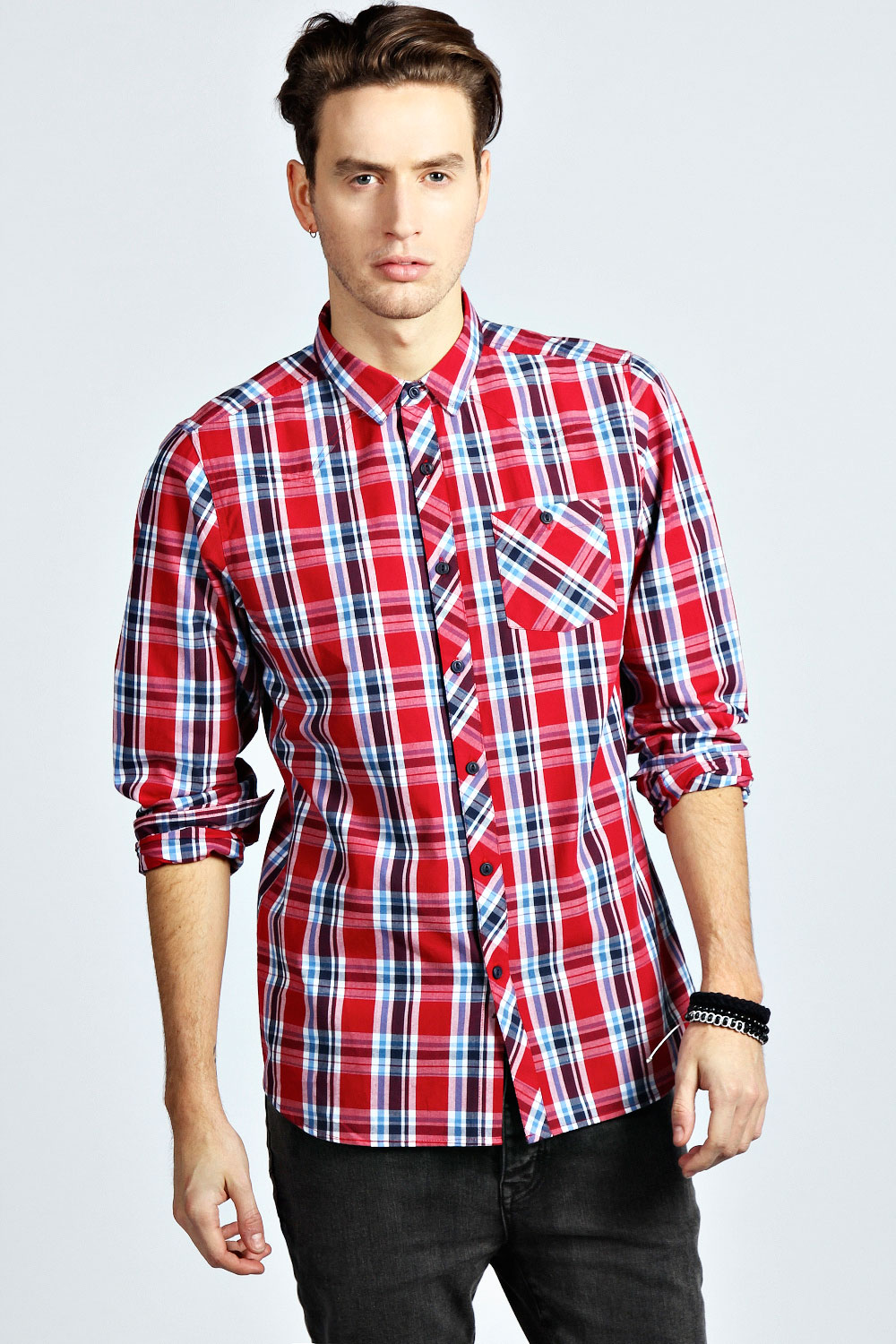 Boohoo-Mens-Long-Sleeve-Western-Style-Check-Cotton-Shirt-in-Red