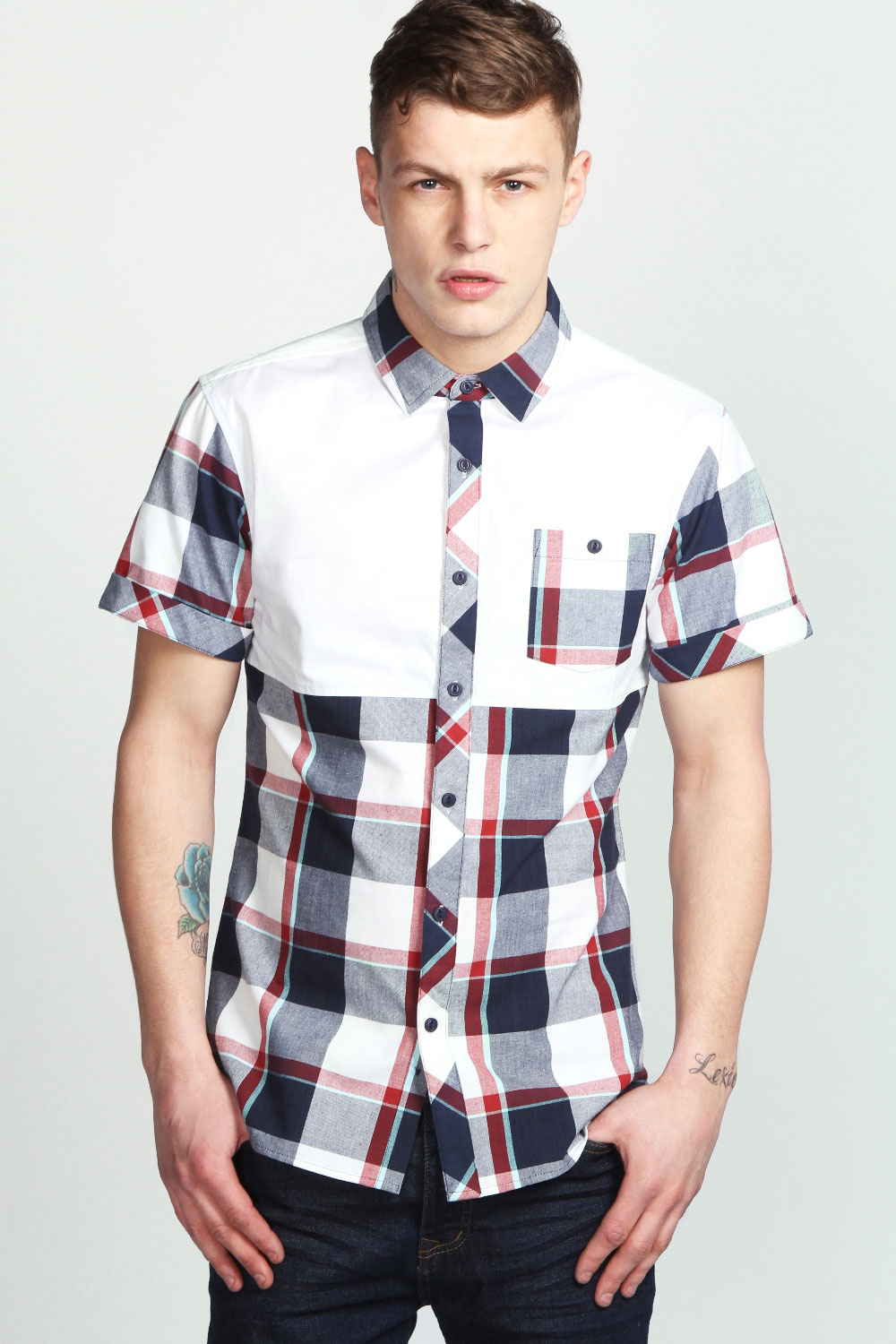 Boohoo-Mens-Colour-Block-Check-Short-Sleeve-Cotton-Shirt
