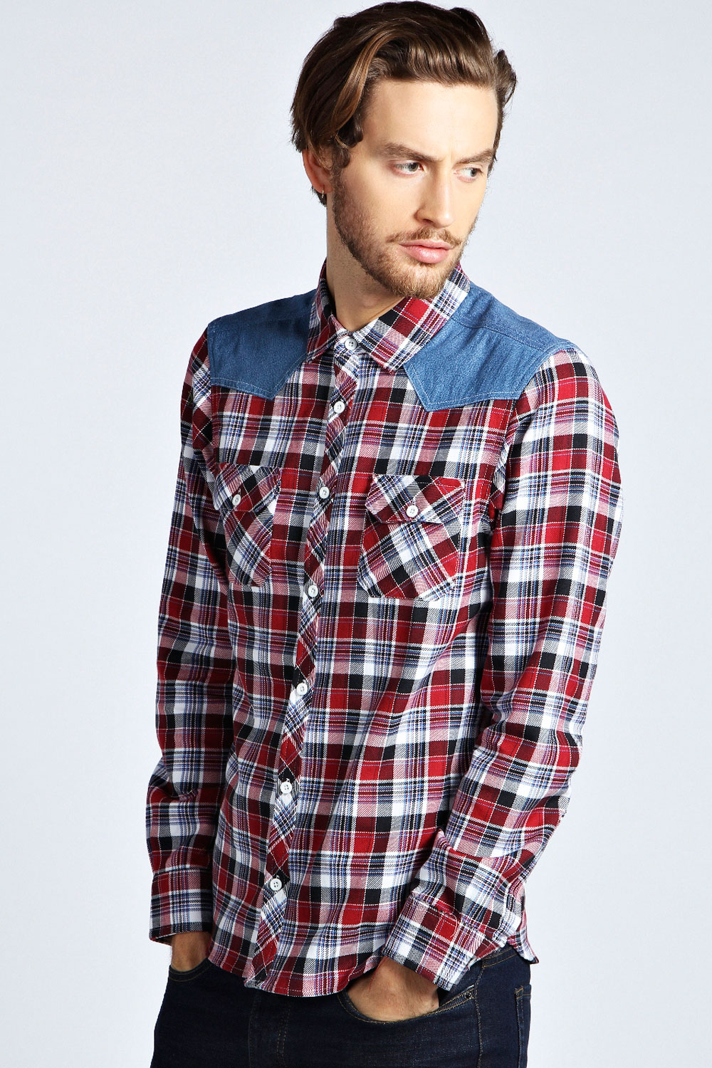 Boohoo-Mens-Long-Sleeve-Check-Shirt-With-Denim-Shoulder-Patches-in-Red
