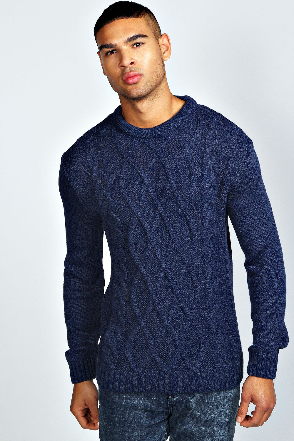 Knitting Mens Jumpers : Boohoo mens long sleeve crew neck cable knit marl jumper