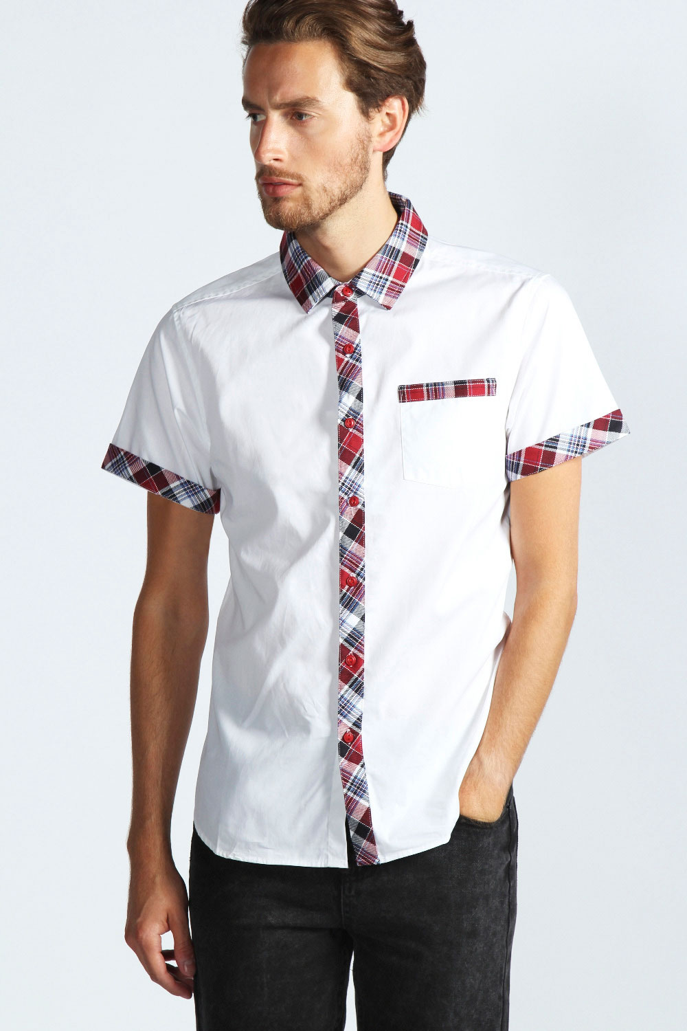 Boohoo-Mens-Short-Sleeve-Cotton-Shirt-With-Check-Trim