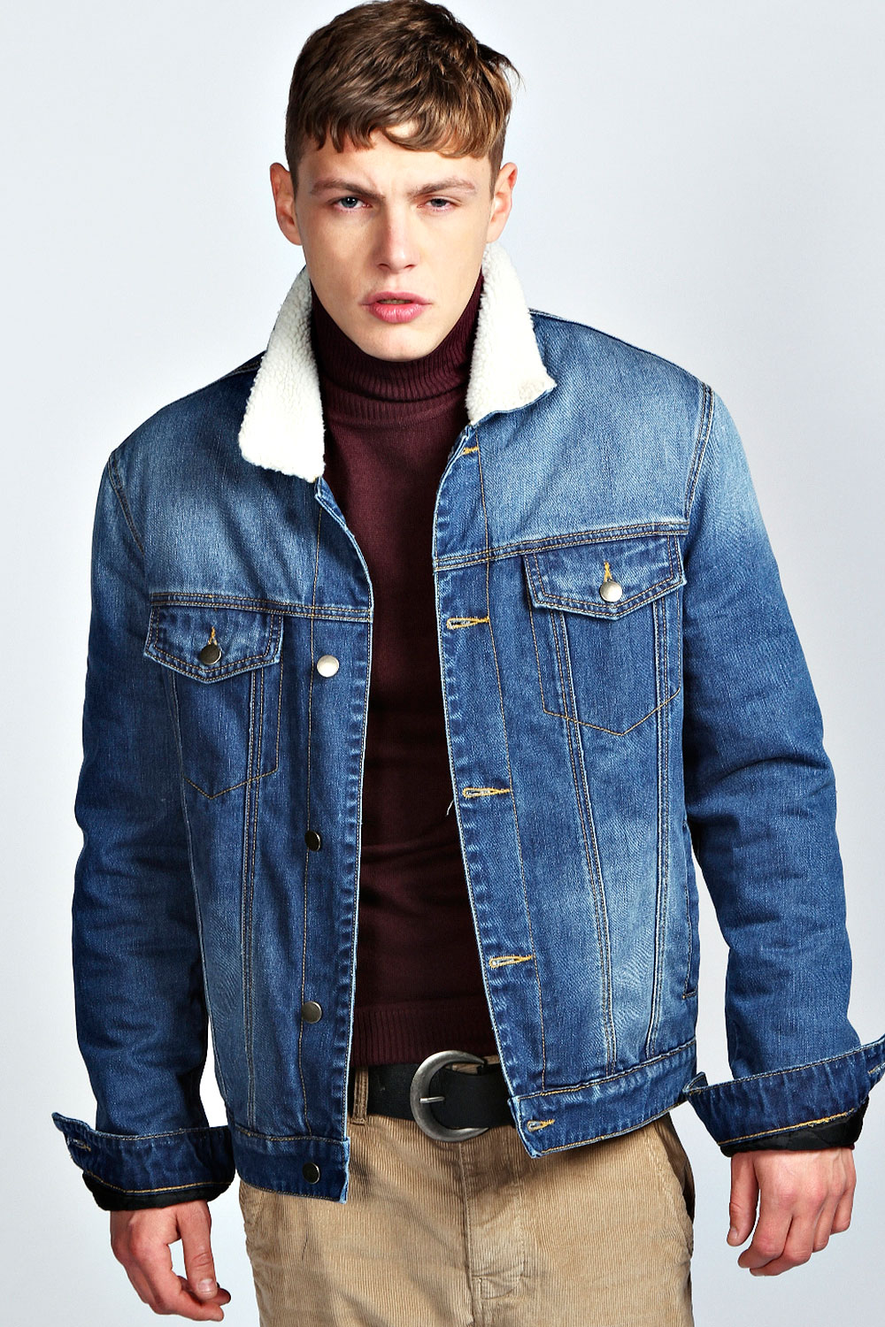 Image is loading Boohoo-Mens-Sherpa-Collar-Cotton-Denim-Jacket-in- - Boohoo Mens Sherpa Collar Cotton Denim Jacket In Indigo