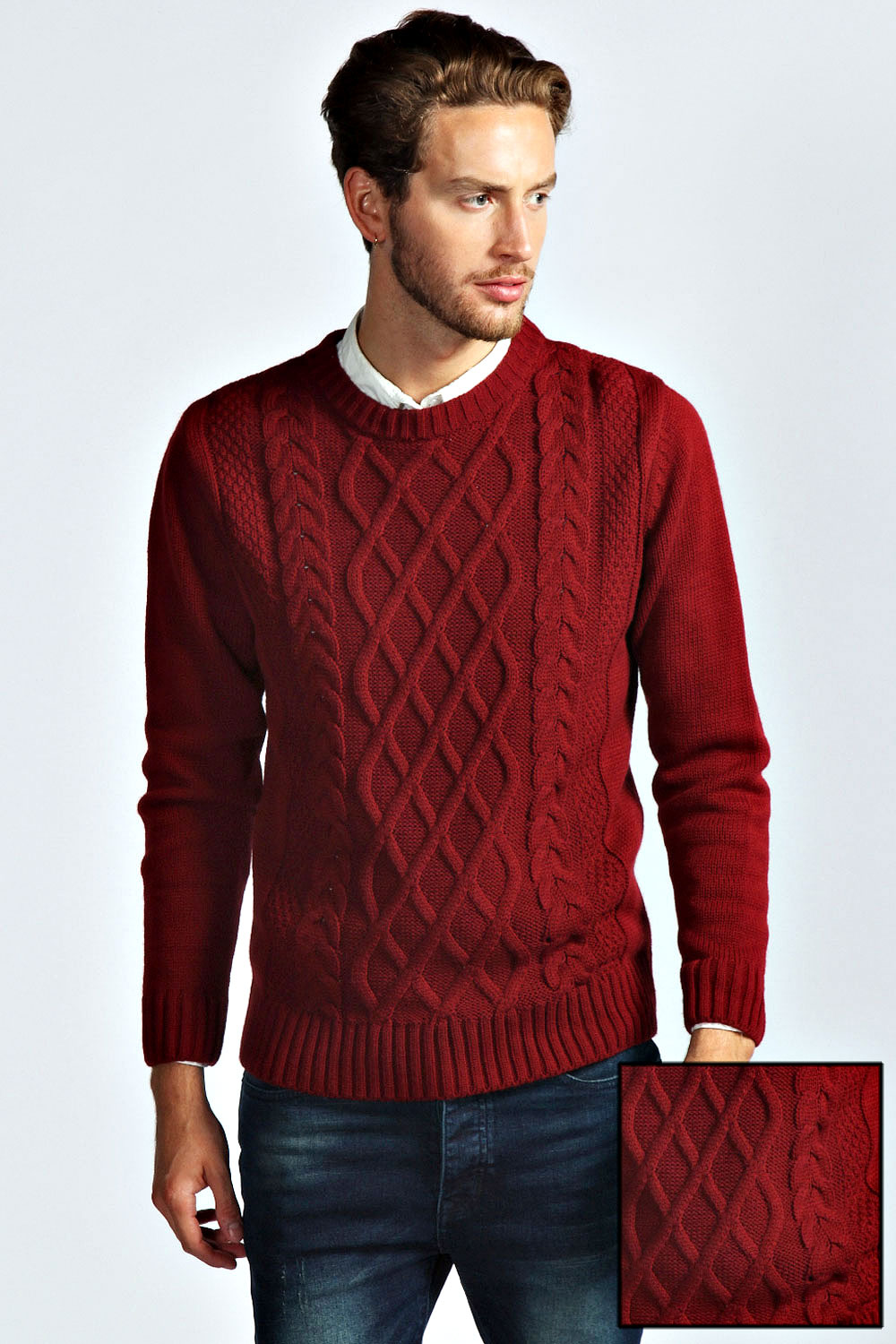 Boohoo-Mens-Cable-Crew-Jumper-in-Burgundy