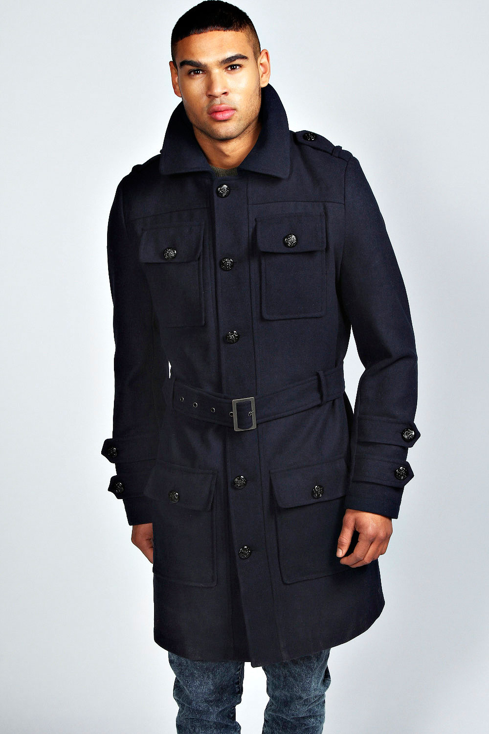 Boohoo-Mens-Military-Crombie-Coat-in-Navy